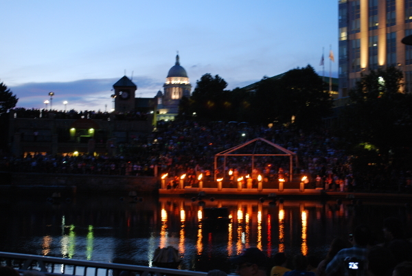 UUA sponsors the River Fire Event in Providence with he capitol building in the background